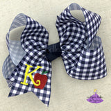 Navy Plaid Personalized Back to School Apple Bow with Initial Letter - Small & Medium