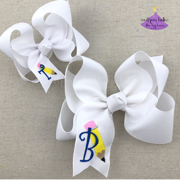 Big White Personalized Pencil School Bow - Large & Jumbo