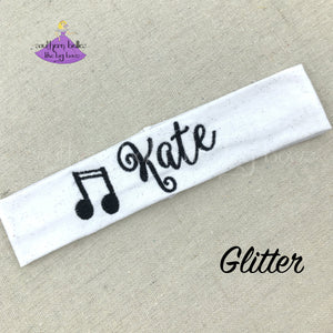 Personalized Glitter Music Headband - Stretch Knit