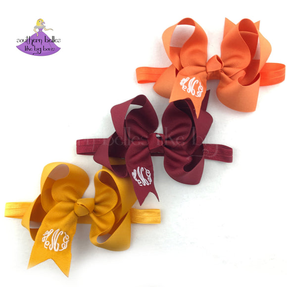 Fall Monogrammed Baby Bow Headband