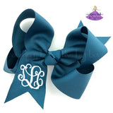Peacock Blue Monogrammed Bow