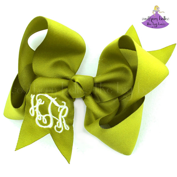 Chartreuse Green Monogrammed Bow