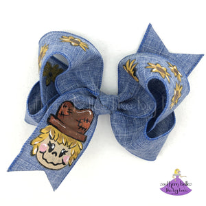 Hand Painted Denim Scarecrow Bow for Fall or Autumn