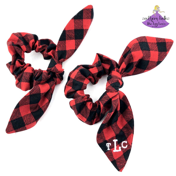 Buffalo Plaid Bow Scrunchies