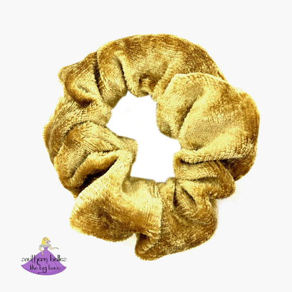 Gold Crushed Velvet Scrunchies