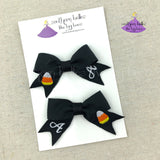 Candy Corn Hair Bow Pigtail Set