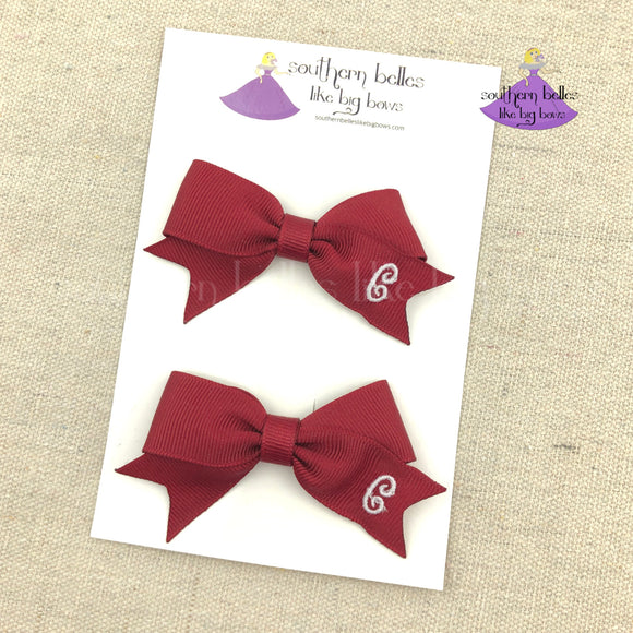 Personalized Pigtail Set in Fall Colors - Cranberry Red
