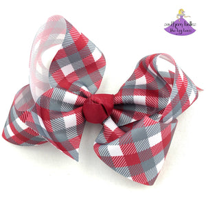Crimson and Grey Plaid Boutique Bow