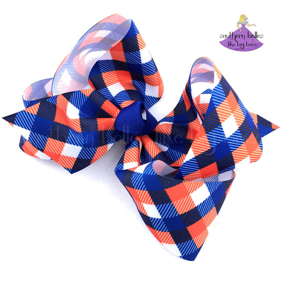Blue and Orange Plaid Boutique Bow