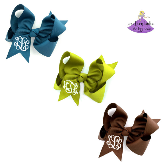 Fall Colors Monogrammed Bows in peacock blue, olive jungle green, or brown