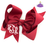 Cranberry Crimson Red Monogrammed Hair Bow Personalized Christmas Bow for Girl