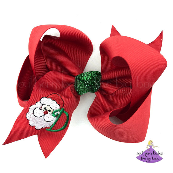 Personalized Santa Christmas Hair Bow with Santa Clause and One Initial Letter