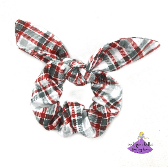 Red and Gray Plaid Bow Scrunchie