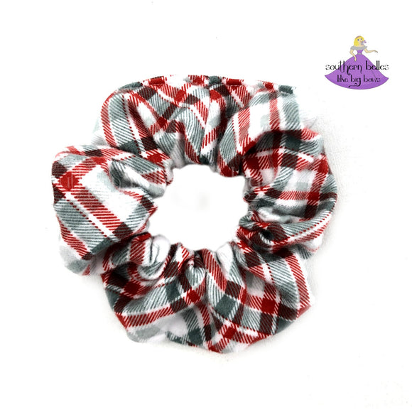 Red and Gray Plaid Scrunchie