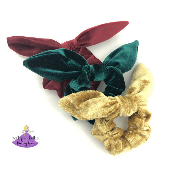 Velvet Christmas Bow Scrunchies