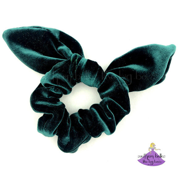 Dark Green Velvet Christmas Bow Scrunchie