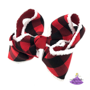 Buffalo Plaid Hair Bow with Chenille Edge