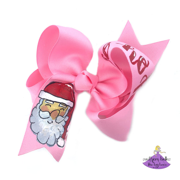 Hand Painted Santa Christmas Bow