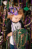 Big Mardi Gras Boutique Hair Bow with Glitter