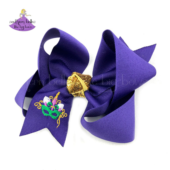Unicorn Mardi Gras Hair Bow