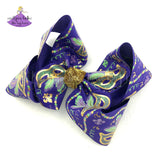Big Purple Mardi Gras Bow with Mardi Gras Masks and Metallic Gold with Glitter Accents