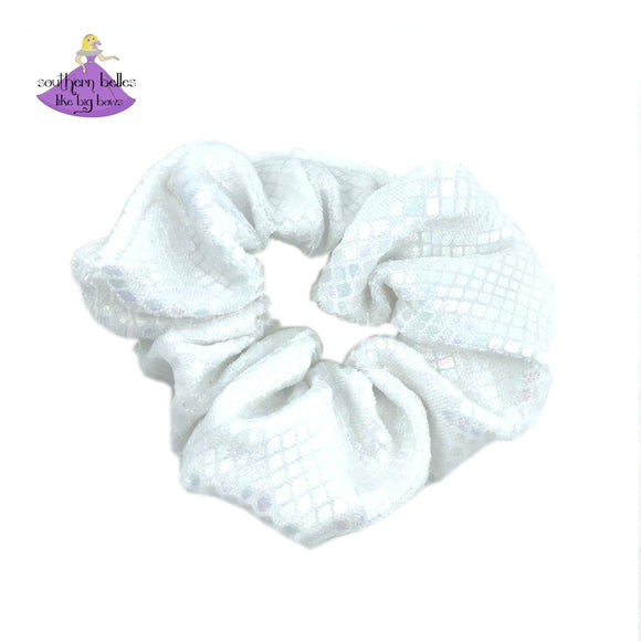 White Snakeskin Scrunchie