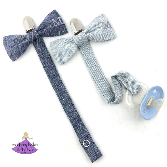 Personalized Bow Tie Pacifier Clip with Monogram