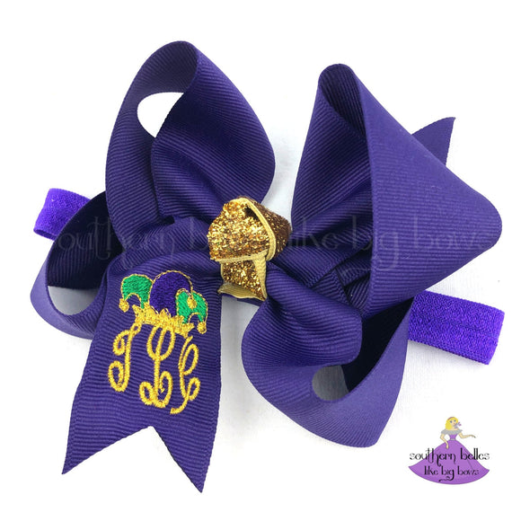Personalized Mardi Gras Baby Headband with Monogram and Jester Hat