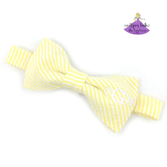 Seersucker Bow Tie with Traditional Monogram