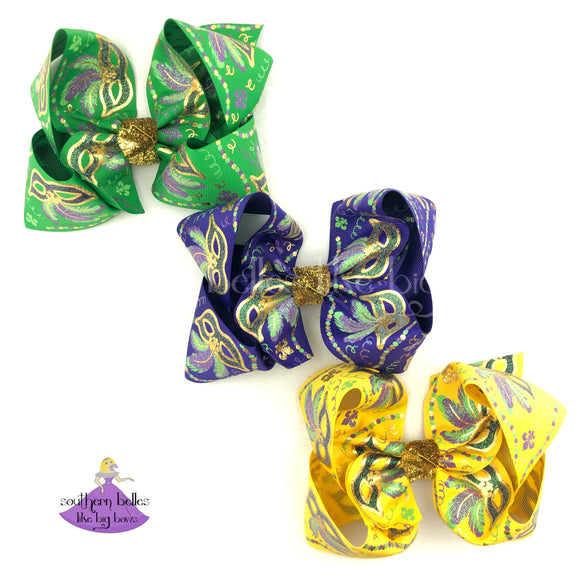 Big Mardi Gras Bow with Mardi Gras Masks and Metallic Gold with Glitter Accents