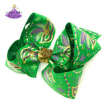 Big Green Mardi Gras Bow with Mardi Gras Masks and Metallic Gold with Glitter Accents
