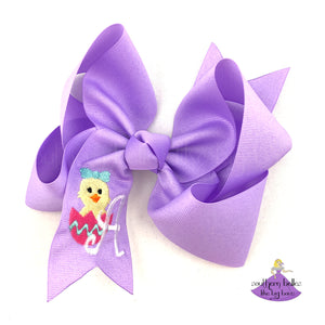 Personalized Lavender Easter Bow with Easter Egg Chick