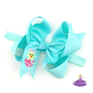 Personalized Easter Chick Baby Headband Bow