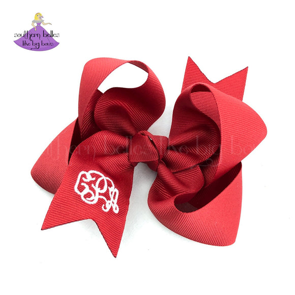 Red Monogrammed Hair Bow - Small to Medium
