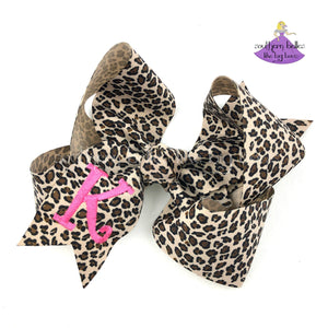 Personalized Leopard Print Bow with Initial Letter