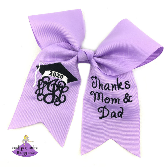 Personalized 2020 Graduation Cap Decoration Topper Bow with Thank You Message for Mom & Dad