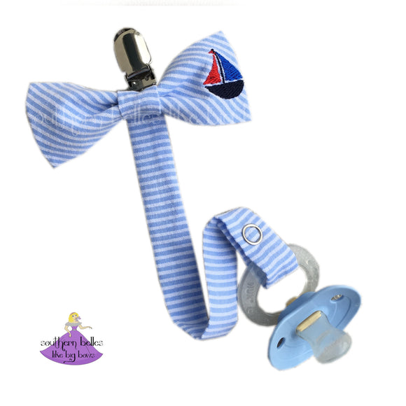Seersucker Sailboat Pacifier Clip for Baby Boy Gift