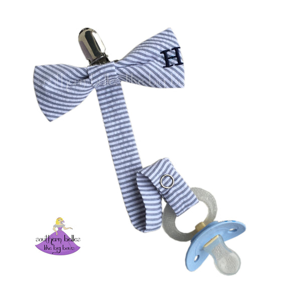 Seersucker Pacifier Clip for Baby Boy