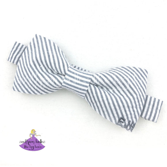 Gray Seersucker Bow Tie with Monogram