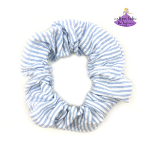Blue Seersucker Scrunchie
