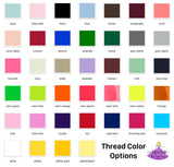 Thread color options for fabric face mask personalization