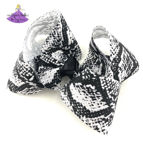 Black and White Snake Skin Print Modern Hair Bow for Girl or Baby
