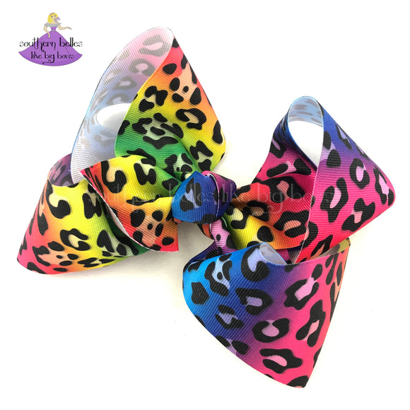 Big Bright Rainbow Leopard Cheetah Print Hair Bow