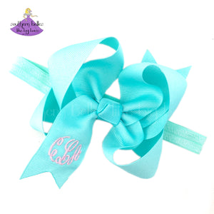 Aqua Baby Bow Headband Personalized with Monogram