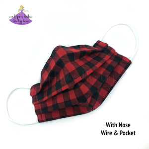 Buffalo Plaid Reusable Fabric Face Masks with Filter Pocket and Nose Wire Fits Child, Kids, Teens, and Adults
