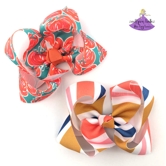 Fall Hair Bows for Fall Outfits with Pumpkins and Stripes