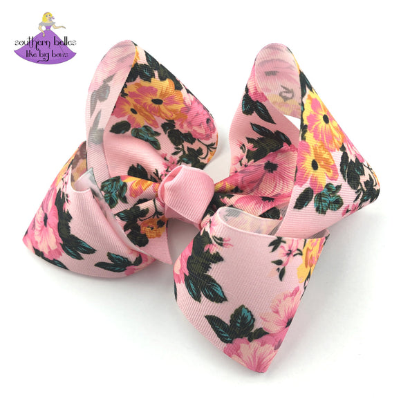 Fall Floral Hair Bow for Girl with Soft Pink and Yellow Gold Flowers in beautiful fall hues