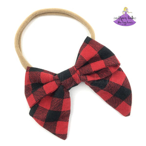 "Buffalo Plaid Baby Headband with Red and Black Checked 3"" Fabric Hair Bow"
