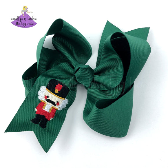 Green Christmas Bow for Girls with Nutcracker Embroidery