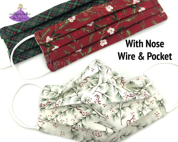 Women's Christmas Face Mask with Filter Pocket and Nose Wire for Adult